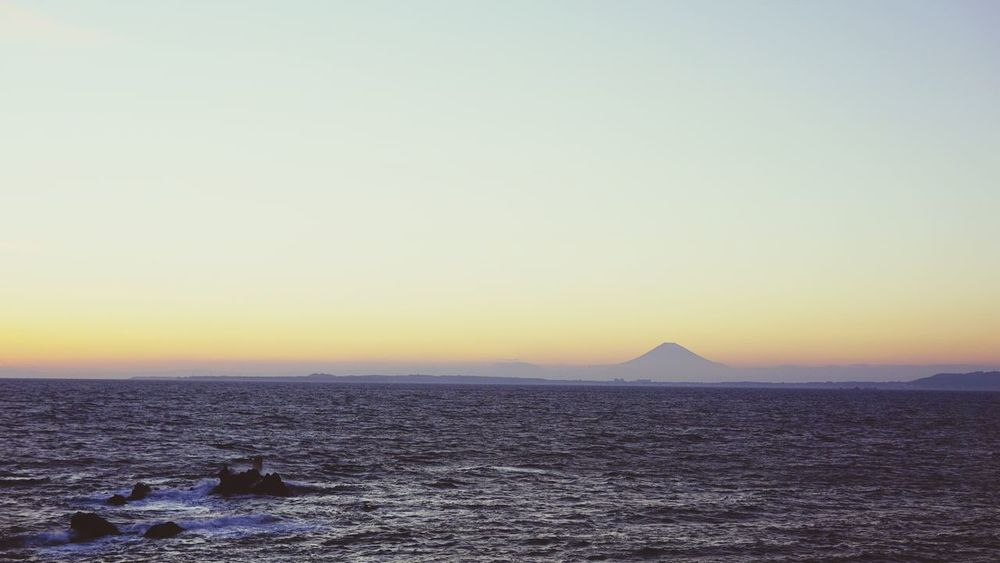 Copy Space Water Sea Clear Sky Nature Beauty In Nature Sunset Scenics Tranquility Tranquil Scene Nautical Vessel Outdoors No People Sky Day Mt.Fuji