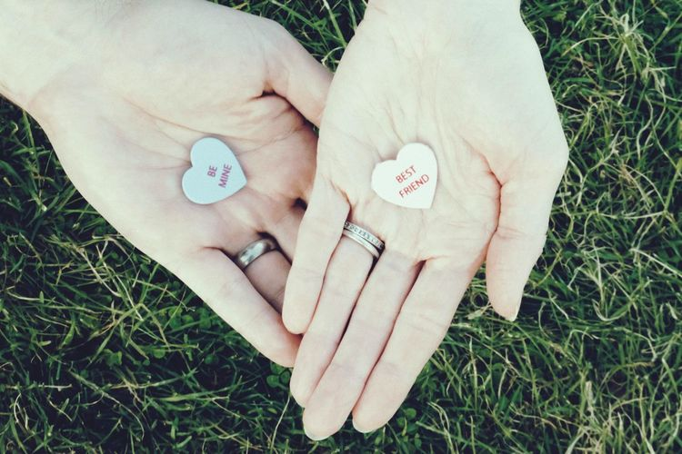 Sweethearts Human Body Part Grass High Angle View Directly Above Human Hand Close-up One Person Day Love Outdoors Real People Women Adult People