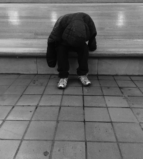 The Nod. Alone Homeless Homelessman Human Leg On Drugs Real People Sleep