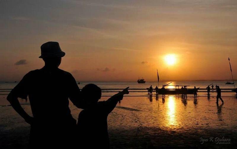 me & my boy...... Sunset Silhouette Beach Pangandaran