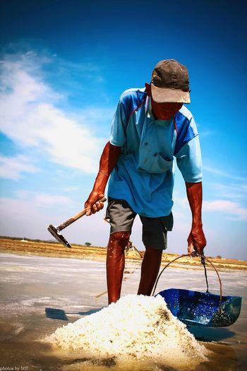 Work Hard Salt Farmer Rembang Indonesia