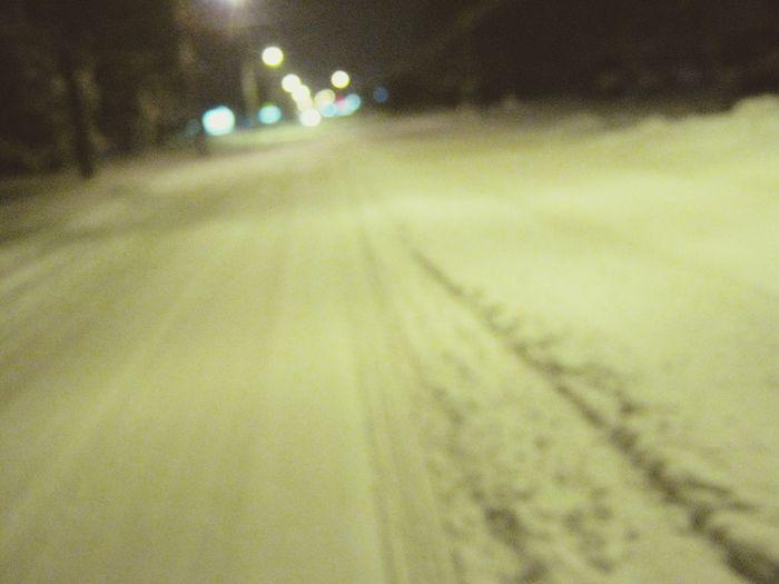 The Blizzard Snow ❄ Blizzard 2013 Nature First Eyeem Photo Night Road Illuminated Winter Street Snow No People Defocused
