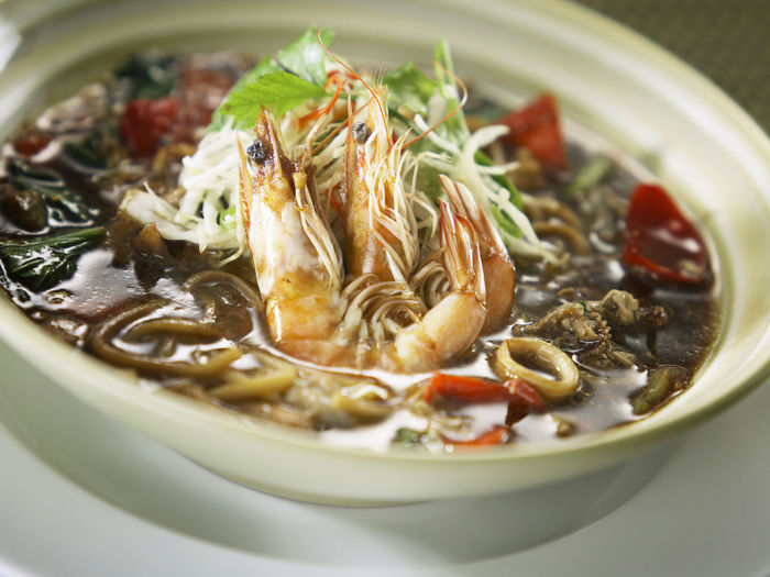 noodle, mee hai lam Chinese Cooking Shrimps Appetizing  Asian Food Black Sauce Bowl Close-up Day Food Food And Drink Freshness Gravy Hailam Noodle Healthy Eating Indoors  Mee Hailam No People Prawn Ready-to-eat
