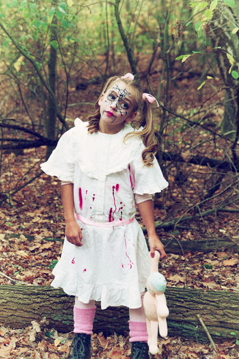 Happy halloween!! Spooky Costume Dressing Up One Person Halloween Disguise DollBizarre Evil Outdoors Standing Portrait Face Paint Blood Day Child