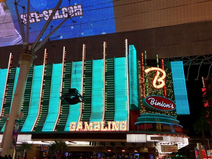 Fremont Street in Las Vegas. Architecture Building Exterior Text City Outdoors No People Illuminated Binions  Las Vegas Taking Pictures Check This Out! From My Point Of View Fun Gambling Casino Walking Around Walking Around The City  Architecture Neon Neon Lights Neon Sign Freemont Street Different Perspective Taking Photos Travel