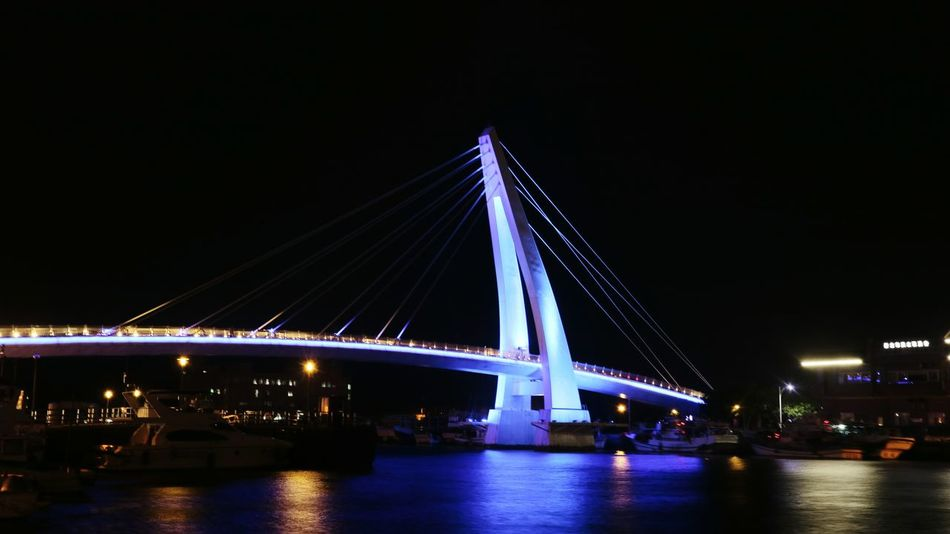 tamsui fishermen wharf bridge, taiwan Tamsui Danshui Taipei Taiwan New Taipei City Tamshui Tamshui River Tamsui Taiwan Danshui Night Bridge - Man Made Structure Illuminated Built Structure Architecture Connection Long Exposure Transportation Travel Destinations Suspension Bridge No People Water Motion City Outdoors River Light Trail Nightlife Cityscape Sky