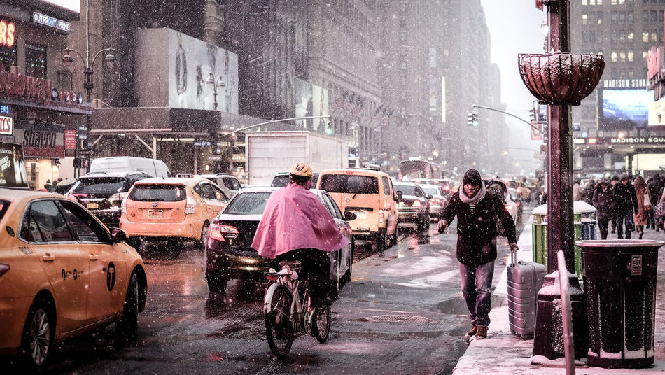7th Avenue Car City City Life Men Mode Of Transport New York New York City Penn Station  Real People Road Snow Snow ❄ Snowing Street Street Photography Urban