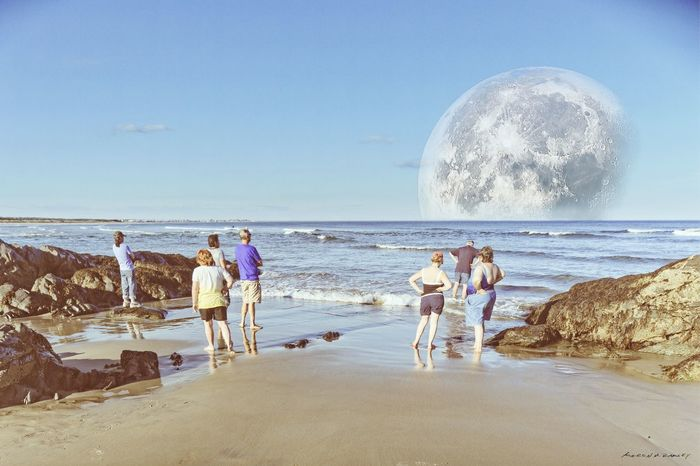 Anomaly at the Beach , August 1983. Beach Photography Landscape Landscapes Landscape_photography Moon Moonrise Unknown The Event Unknown Event Event Horizon
