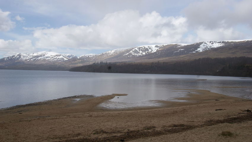 Largest man made beach in the UK Loch  Beach Water Water Mountain Snow Sky Landscape Cloud - Sky Snowcapped Mountain Sand
