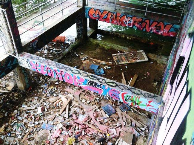 Remnants of an old stadium. . (Abandoned Miami Marine Stadium Key Biscayne, FL)