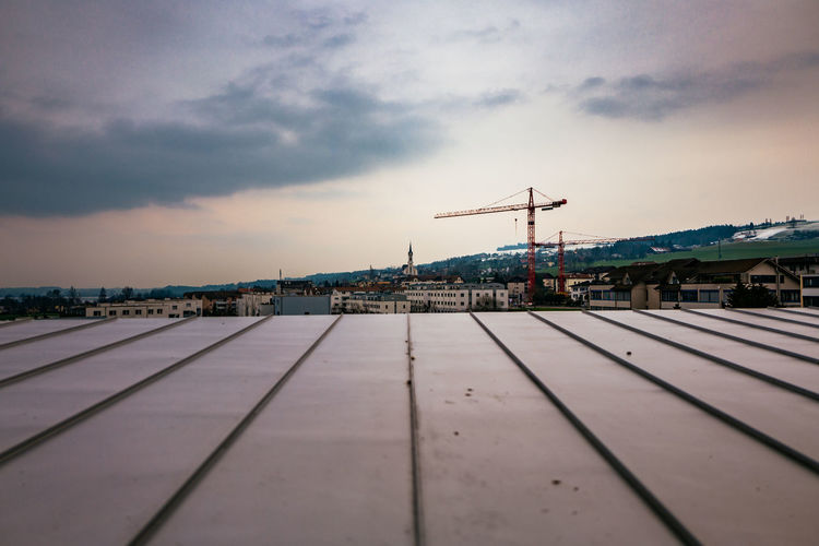 Surface Level Of Roof In City Against Sky