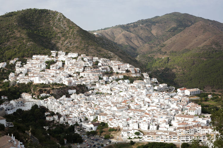 Aerial view of Ojen, white village over a hillside near Marbella, Spain. HDR Architecture Beauty In Nature Day Mountain Nature No People Ojen Outdoors Scenics Sky Tree