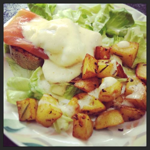 What's For Dinner? Homemade Poached Eggs  Homemade Olive Bread Patatas Bravas Sauce Hollandaise It Takes Time It's Worth Tryin' Fresh Salmon