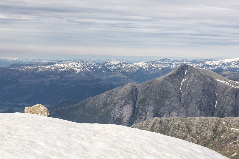 Standing on the top of Melderskin and enjoying the majestic view. Beauty In Nature Cloud - Sky Cold Temperature Hike Hiking Hiking Adventures Landscape Majestic Mountain Mountain Range Nature Overcast Rock Rock - Object Scenics Snow Snowcapped Mountain Summit Weather The Great Outdoors - 2016 EyeEm Awards Hardangerfjorden