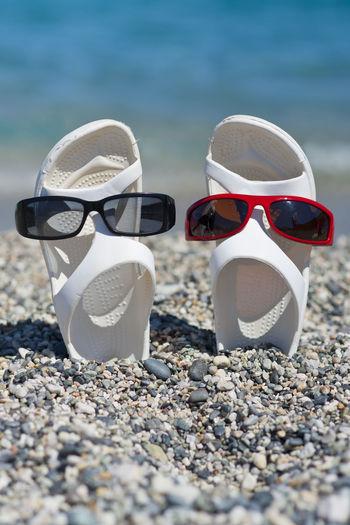 Slipper  Shoe Sunglasses Sea Summer Beach Fun Vacation Pair Sandal Summertime Vertical