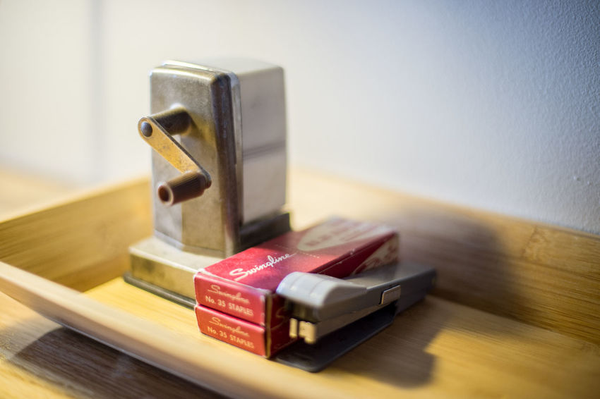 ©Amy Boyle Photogrphy Desk Stapler Close-up Day Desk Organizer Desksetup Indoors  No People Office Supply Pencil Sharpener Wood - Material
