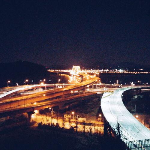 Banghwa bridge at night Night Night Lights Traffic Bridge Han River Han River Bridge Architecture Busy Seoul Korea