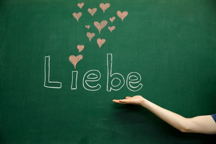Cropped image of person against blackboard with german text