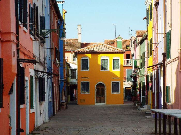 Yellow Italy Burano Colorful Colour City Cityscape History Sky Architecture Building Exterior Built Structure Alley Old Town Row House Building Exterior Façade