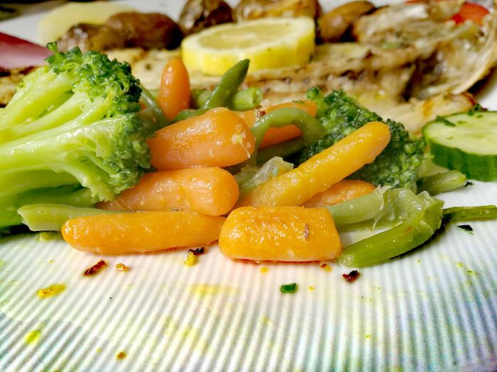Close-Up Of Cooked Vegetables On Plate