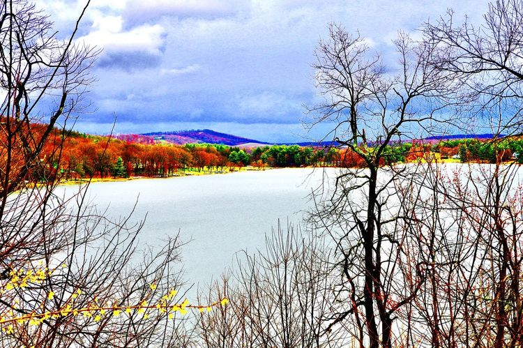 I took this photo in winter time looking out over the water at Deep Creek Lake in Mchenry, Maryland. Nature Beauty In Nature Scenics Tranquility Lake Outdoors Reflection Water Branch Travel Destinations Landscape Sky Autumn Tranquil Scene No People Day First Eyeem Photo