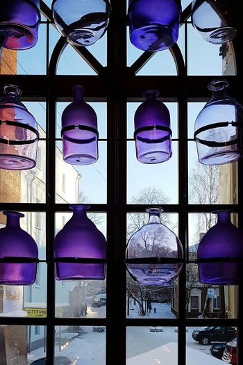 Purple Window Reflection Illuminated No People Built Structure Business Finance And Industry Indoors  Architecture Window Bowl Glass Glass Decoration Glass Installation Window Decoration