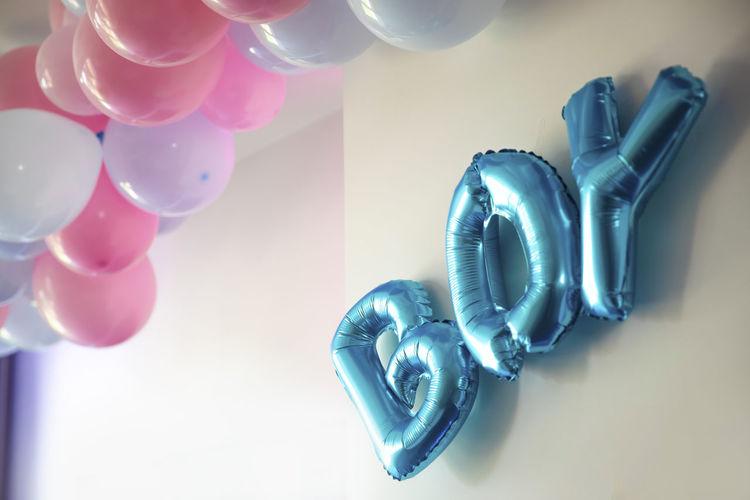 High angle view of balloons on table