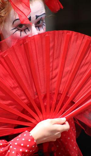 Artist Fashion Folding Fan Performance Person Red Vibrant Color Woman