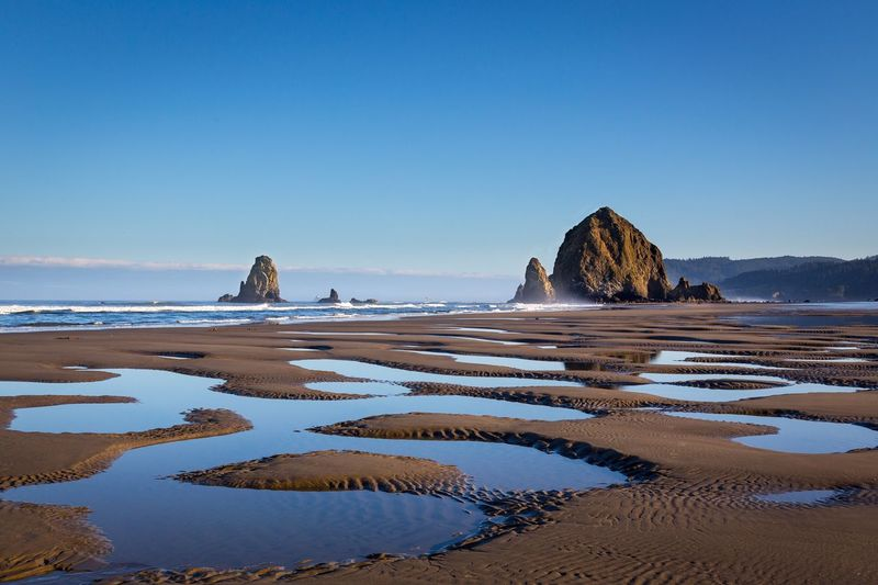 Haystack Rock Haystack Rock Water Sky Sea Clear Sky Land Beach Tranquility Scenics - Nature Beauty In Nature
