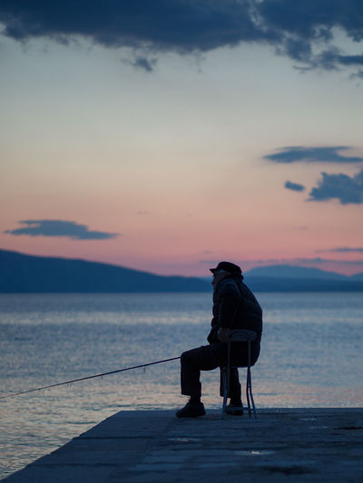 One Person Sitting Sunset Sky Sea Croatia Adapted To The City