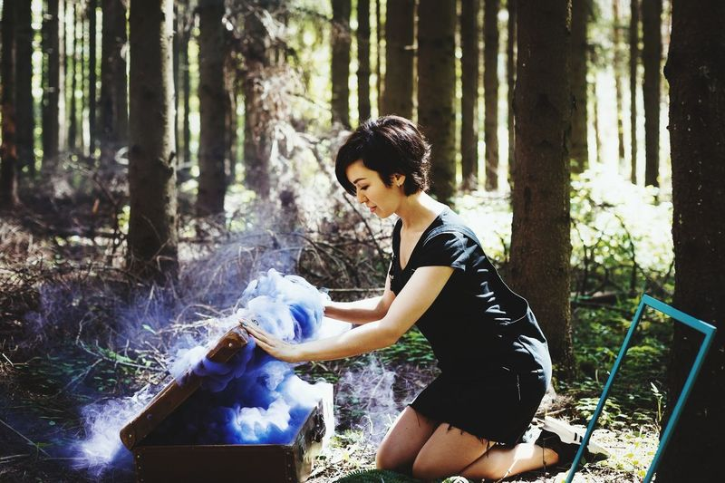 Water Young Women Spraying Standing Full Length Cleaning Washing Chores Side View Domestic Life