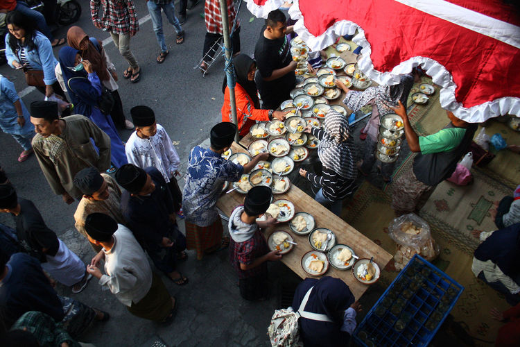 Ramadan in Indonesia. Group Of People High Angle View Crowd Large Group Of People Men Real People Adult Standing Business Market City Togetherness Women Retail  Abundance Day Seat Architecture Casual Clothing