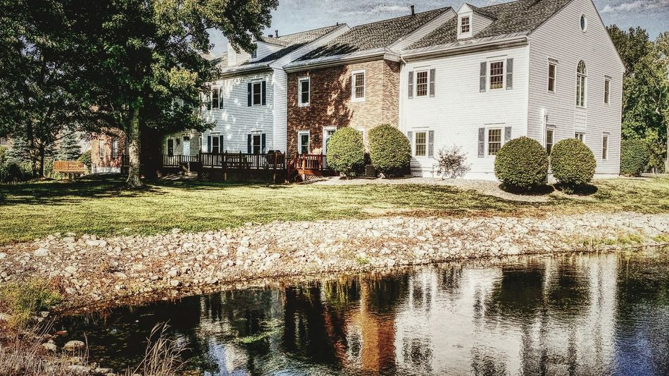 Hanging Out Duck Pond Housing Complex Beautiful Day Late Summer Reflections Water Reflections Shadows And Sunlight Shady Trees Relaxing Places Stone Material