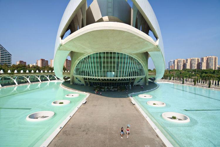 SPAIN Spaın España València Valencia, Spain Modern Modern Architecture Ciutat De Les Arts I Les Ciències Famous Place Travel Destinations Travel Photography Tomorrowland Nikon Water City Modern Blue Architecture