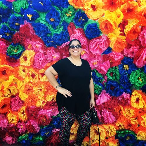 At the Frida Kahlo art exhibit in Phoenix. Love the bright colors. Multi Colored Looking At Camera One Person Front View Portrait Three Quarter Length Real People Leisure Activity Standing Casual Clothing Smiling Happiness Day Lifestyles Woman Vibrant Color Paperflowers Paint The Town Yellow