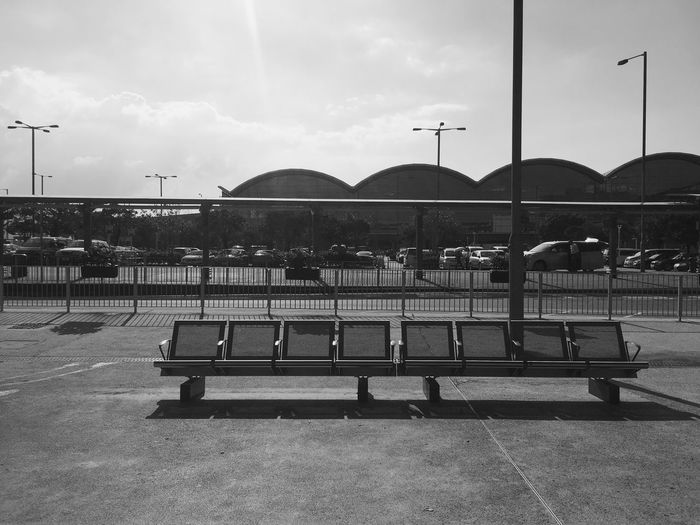 Outdoors Architecture Day Black And White Blackandwhite Monochrome Bench Airport Light And Shadow Empty Empty Chair
