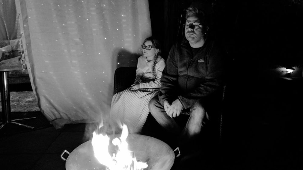 My uncle looking ominously off in the distance Firelight Phone Photography Outdoors Bonfire Instagramer Peoplephotography Photography