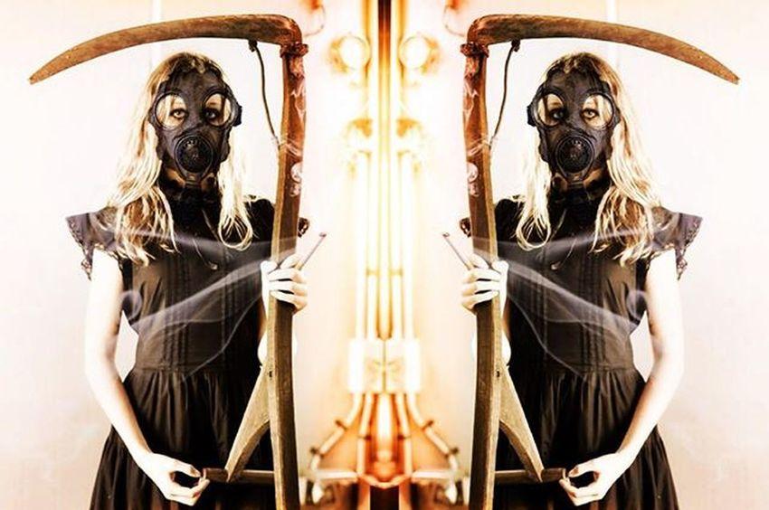 Houseofphoenixeleven Gasmask Gasmaskgirl Reaper Smoke Art Artistsoninstagram Photographer Photography Darkart Daydreamer Nightmare Scary EARTHLING Gatekeeper Industrial Scythe