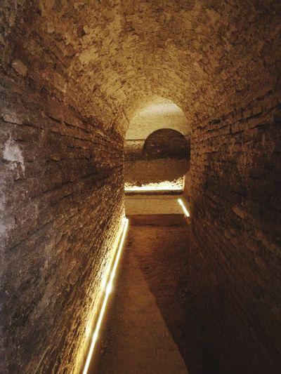 Sevilla Spain A La Gloria Sanluisdelosfranceses Tunnel Arch Illuminated Architecture Built Structure Historic History Civilization Old Ruin Archaeology Ancient Rome Ancient The Past
