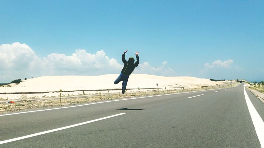Connected By Travel Phan Thiet, Vietnam Travel Destinations Outdoors One Person Sky Leisure Activity Only Men Nature Beautiful Day Beautiful Nature Sand Hills Road Lines