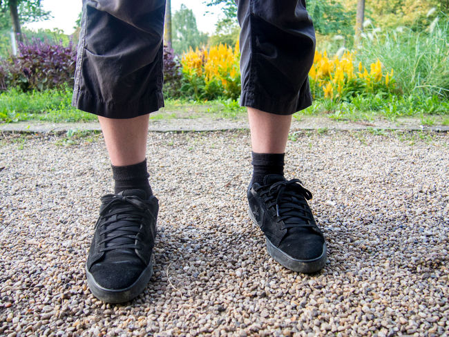 Adult Ankle Bermuda Black Color Black Socks Canvas Shoe Close-up Dressed In Black  Flowers Ground Human Body Part Human Leg Leg Low Section Man Nature One Person Outdoors Park Parklife Pebbles People Shoelaces Shoes Standing