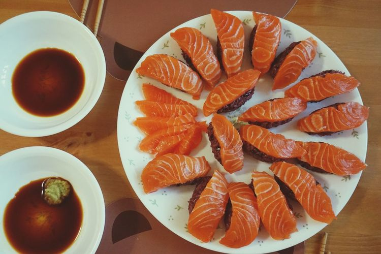 Food Healthy Eating Food And Drink Seafood Freshness Table Raw Food Directly Above Ready-to-eat Blackrice Sushi Home Made Dinner Tonight