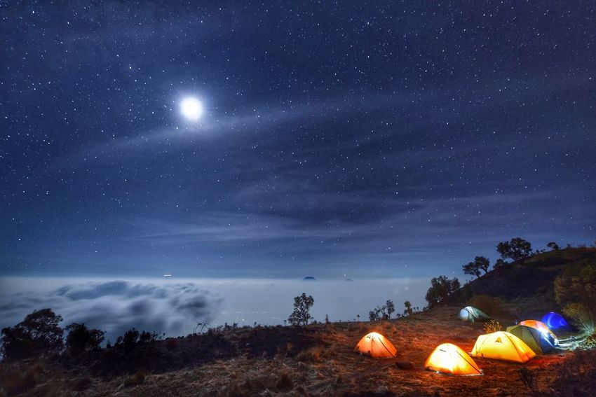 Full moon camping Camping Merbabu Nightphotography INDONESIA Mountains Nature