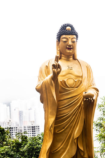 Goddess statues over looking the city of Hong Kong at the Temple of 10,000 Buddhas. Buddha Hong Kong Statue Temple Of 10,000 Buddhas Tourist Attraction  Architecture Art And Craft Belief Buddhism Built Structure Creativity Day Goddess Gold Colored Human Representation Male Likeness Nature Religion Representation Sculpture Sky Spirituality Statue Tourism Tourist Destination