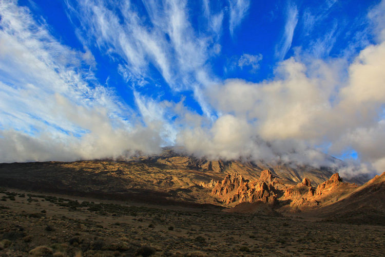 Beauty In Nature Blue Blue Sky Canadas Del Teide Cloud - Sky Day Desert Landscape Erupting Evening Sky Landscape Nature No People Outdoors Physical Geography Power In Nature Scenics Sky Sky And Clouds Teide Teide National Park Tenerife Tranquility