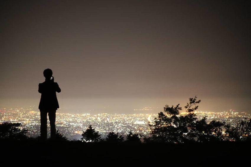 米の山展望台 Photography Photo Silhouette Silhouettes 影画 影絵 影 夜景 Nightview Politics And Government Tree Sunset Standing Silhouette Full Length Sky