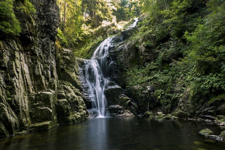 Waterfall in mountains surrounded by green forest Beauty In Nature Environment Falling Water Flowing Water Long Exposure Motion Mountains Nature Non-urban Scene Rock Scenics - Nature Water Waterfall