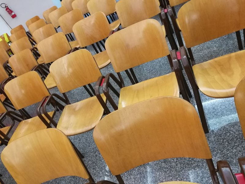 Auditorium Chair Classroom Education Indoors  Learning Lecture Hall No People Seat Seminar University Wooden