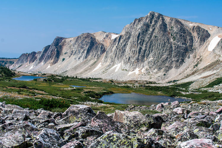 Lakes In Wyoming Wyoming Hiking Mountain Snow Clear Sky Lake Water Mountain Peak Cliff Rock - Object Hiking Sunny Rugged Rocky Mountains Rock Formation Pine Woodland Geology