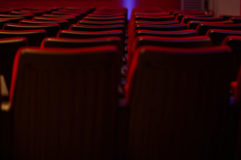 Close-up of empty seats in row